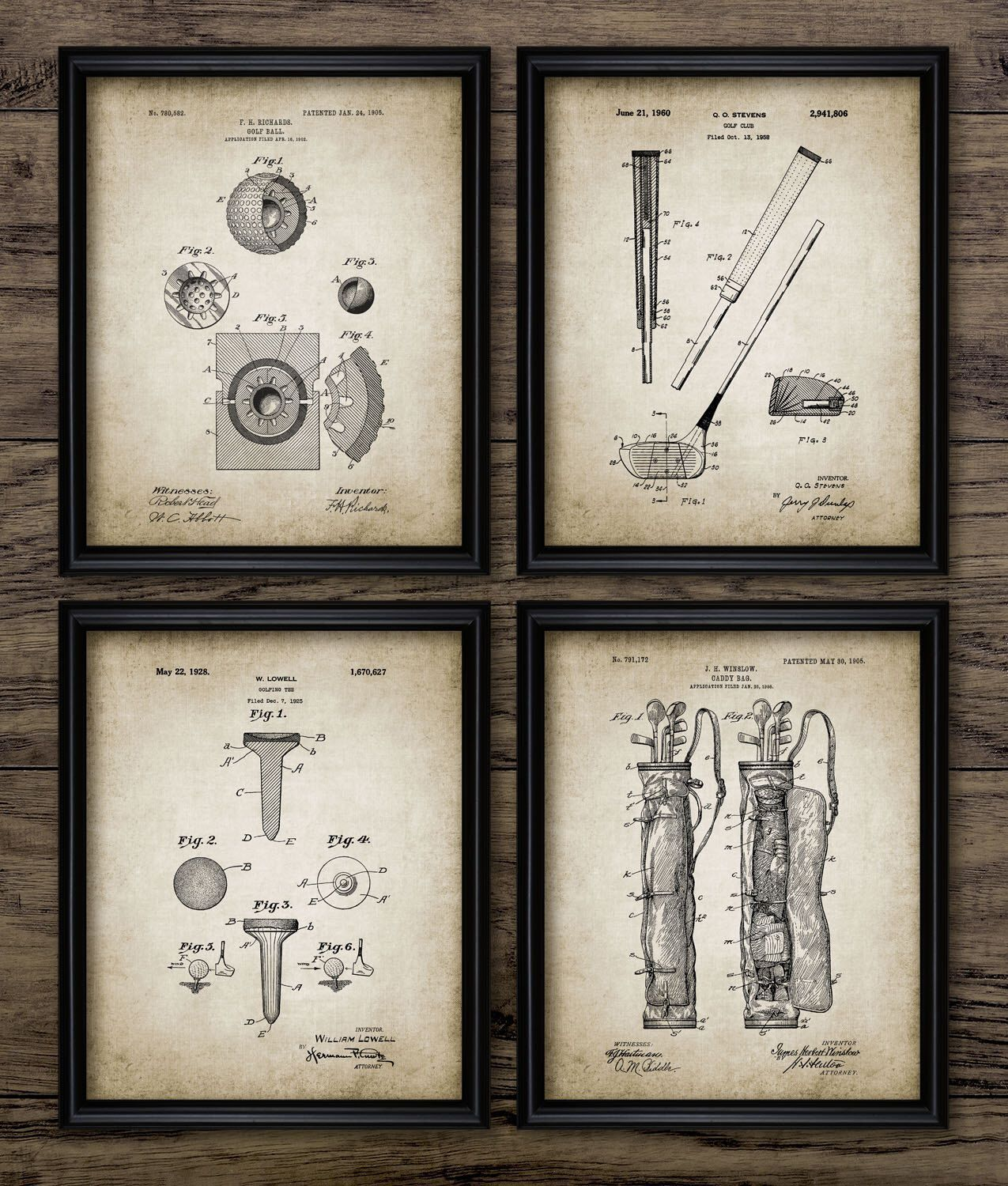 Vintage golf patent print golf blueprint wall art golf gift home vintage golf patent print golf blueprint wall art golf gift home decor mancave wall art golf set of 4 prints 413 instant download by malvernweather