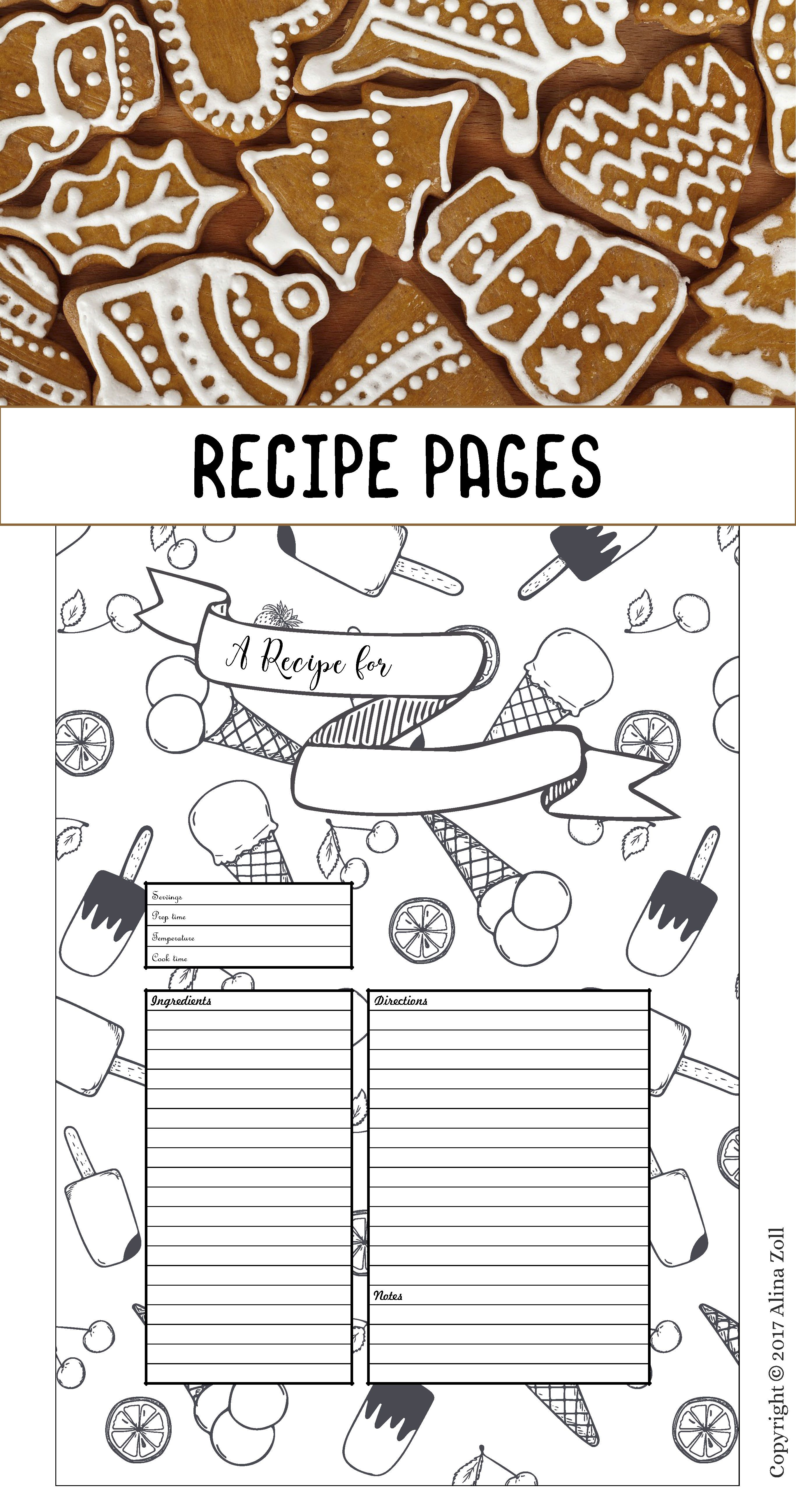 Recipe Template Printable Recipe Pages Layouts Blank Recipe Etsy Recipe Cards Template Recipe Template Printable Recipe Template