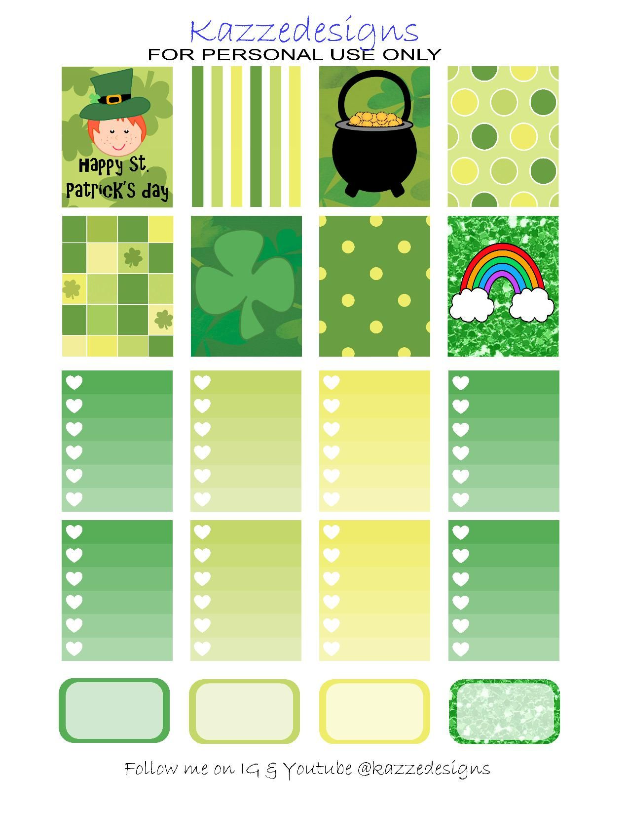32f1cc1a5847 Free Printable St. Patrick s Day Planner Stickers from Kazze Designs