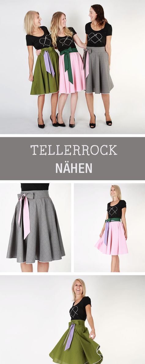 DIY-Anleitung: Knielangen Tellerrock mit Schleife nähen via DaWanda ...