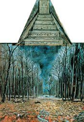 Anselm Kiefer, Resurrexit (1971, pictured left) offers a different view a wooded landscape with a building barely visible in the distant clearing. In the center foreground, Kiefer has been replaced by a snake headed toward the building. A pinewood staircase is attached to the top of the painting. Some see this as a staircase to heaven. We learn that the building is the former schoolhouse which Kiefer converted into his studio. The pinewood stairs are the only access to the studio.