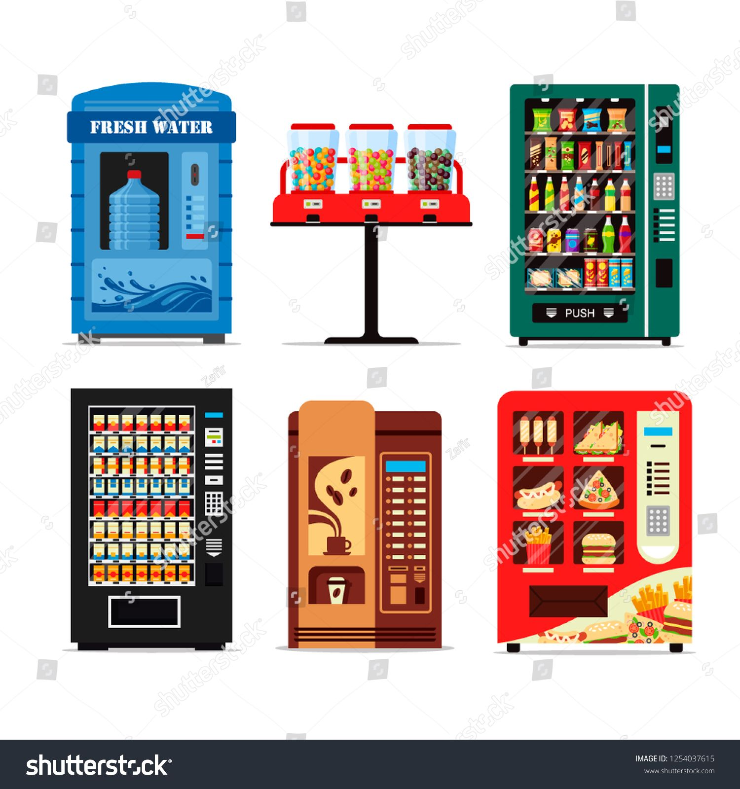 Set Vending Machines Full Of Products Dispensers Collection With