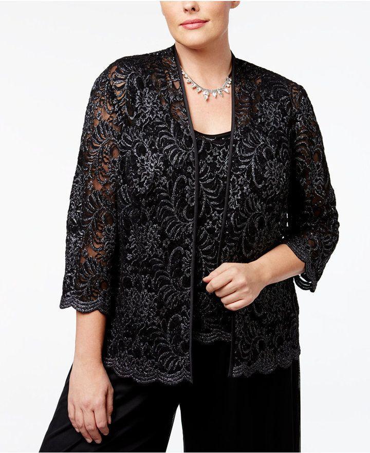 279f098e78f3f Alex Evenings Plus Size Glitter Lace Jacket   Shell