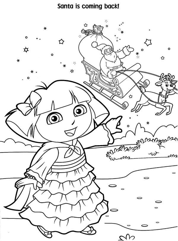 Free Printable Dora Christmas Coloring Pages Picture 56