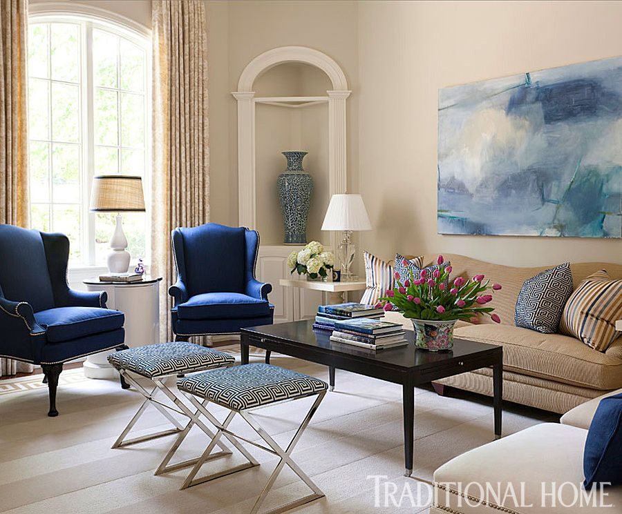 Arkansas Home With A Stylish Palette Blue Living Room Traditional Design Living Room Living Room Designs #traditional #chairs #for #living #room