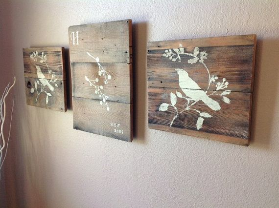 Reclaimed wood wall art set of 3 van delhutsondesigns op etsy