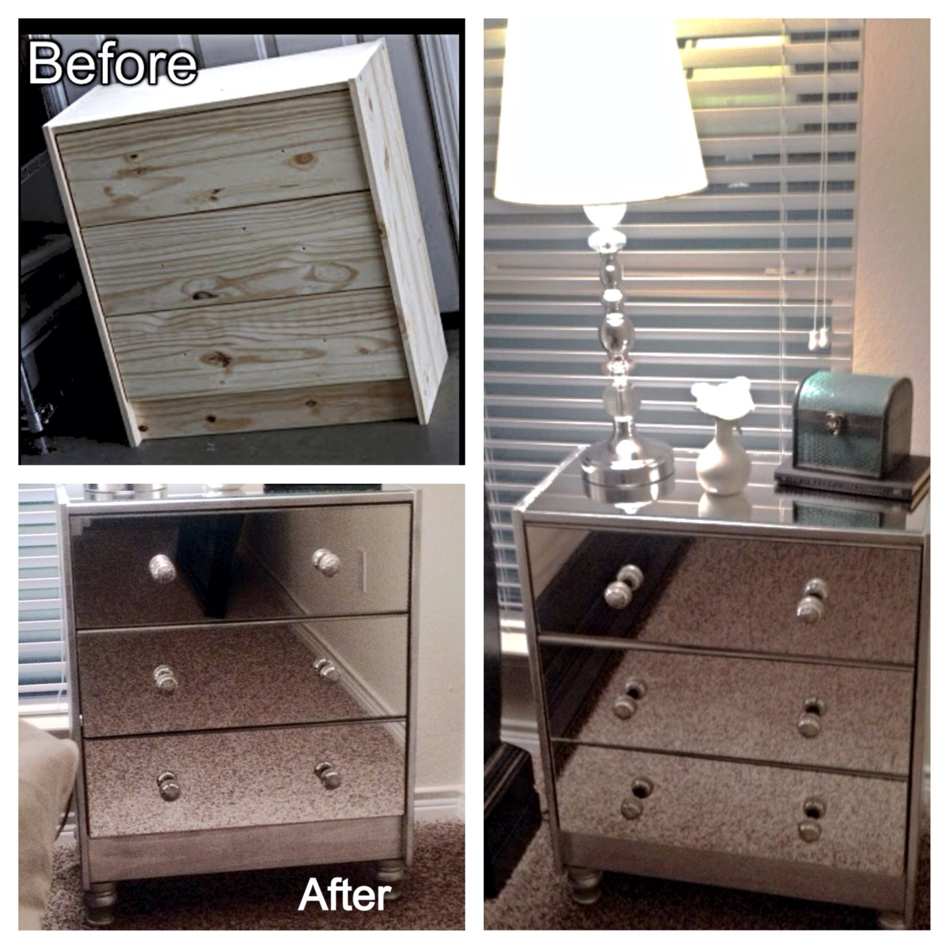 Ikea hack mirrored nightstands made from ikea rast chest - Ikea comodas y aparadores ...