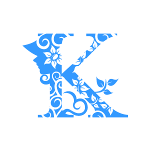 Graphic Design of Flower Clipart - Blue Alphabet K with White ...