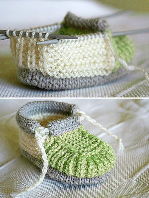 Knitted Baby Booties - Free Pattern #haken