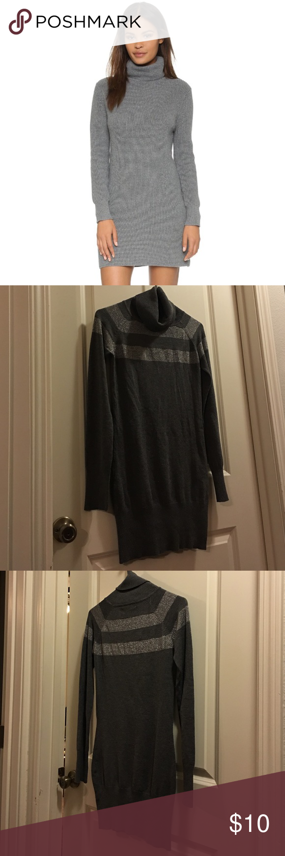 Which christmas gown ideas with holed - Grey And Silver Turtleneck Sweater Dress