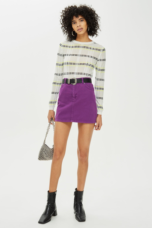7979384993 Purple Denim Skirt | Fashionable | Denim skirt, Skirts, Denim