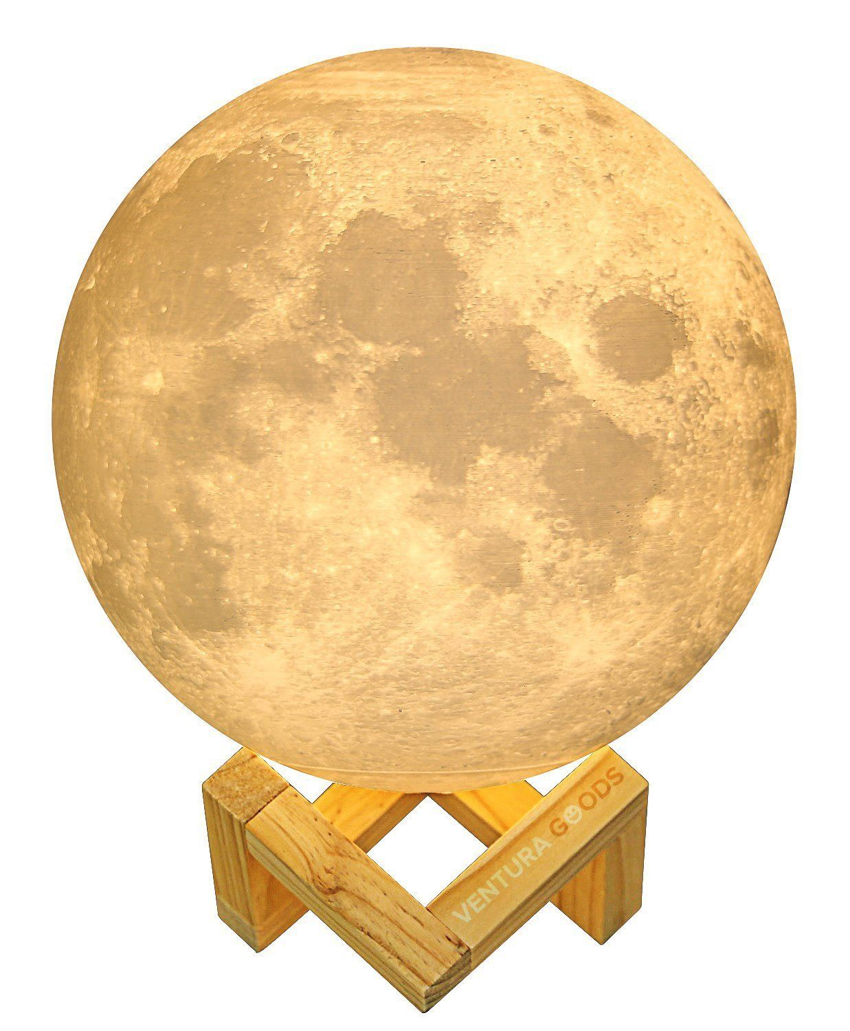 Amazon Com 3d Moon Lamp By Ventura Goods 5 7 Inch Diameter Three Color Tones With Wooden Stand Usb Recharg Moon Light Lamp Led Night Lamp Night Light Lamp