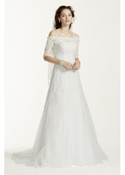 davids bridal jewel 34 sleeve off the shoulder wedding dress 500 size 4 used wedding dresses