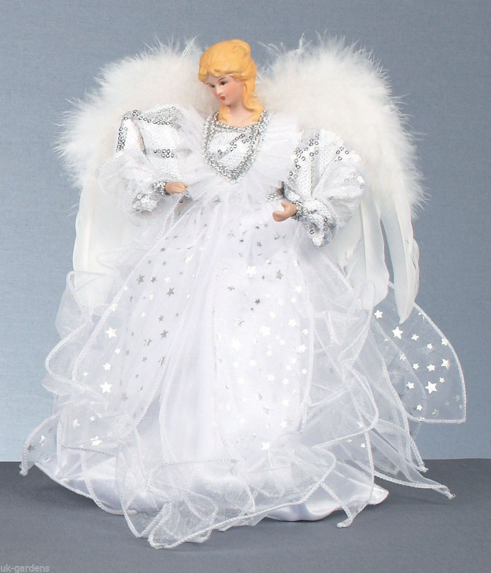 30cm Large Gold / Silver White Fairy Angel Christmas Tree Topper Top ...
