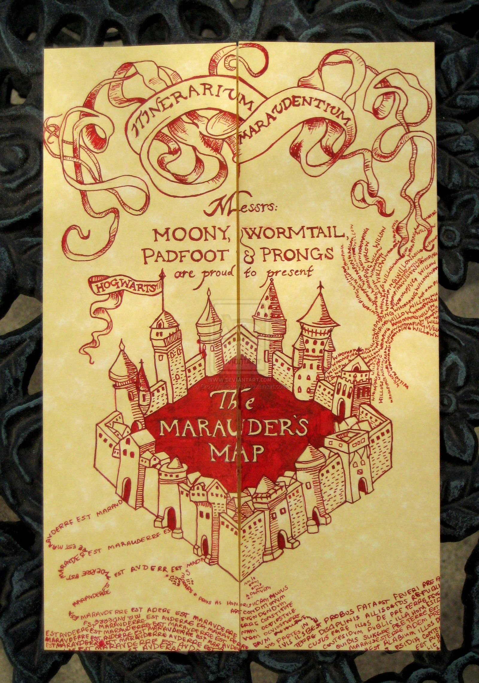 The Marauder S Map By Groovygirlsuzy17 On Deviantart Marauders Map Harry Potter Marauders Map How To Draw Hands