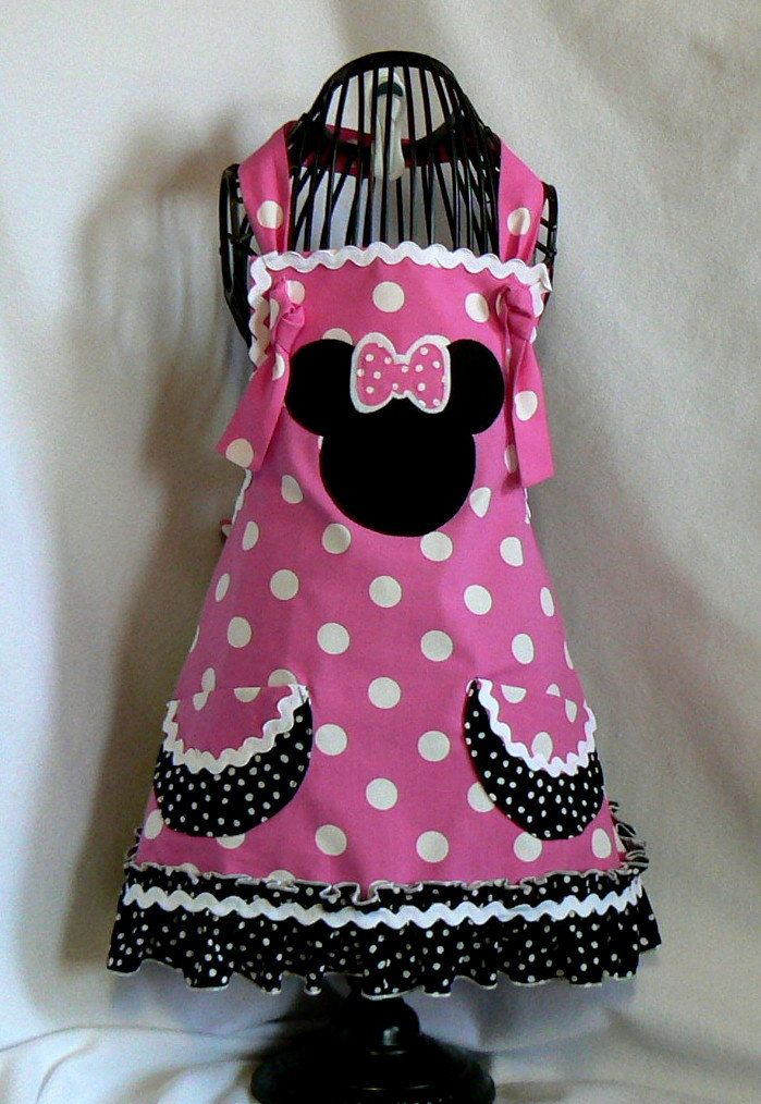 Girls Apron, Minnie Mouse Retro Style Ruffle Childs Full Apron,