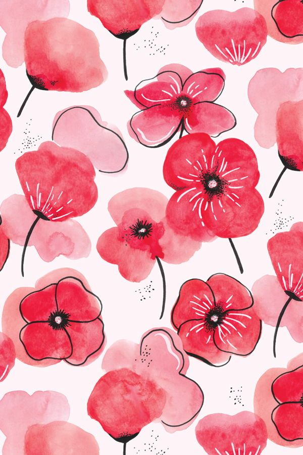 Fabric Watercolor Poppies