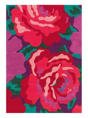Alfombra Bloom rosa y verde  1850 g/m²  Varias medidas disponibles
