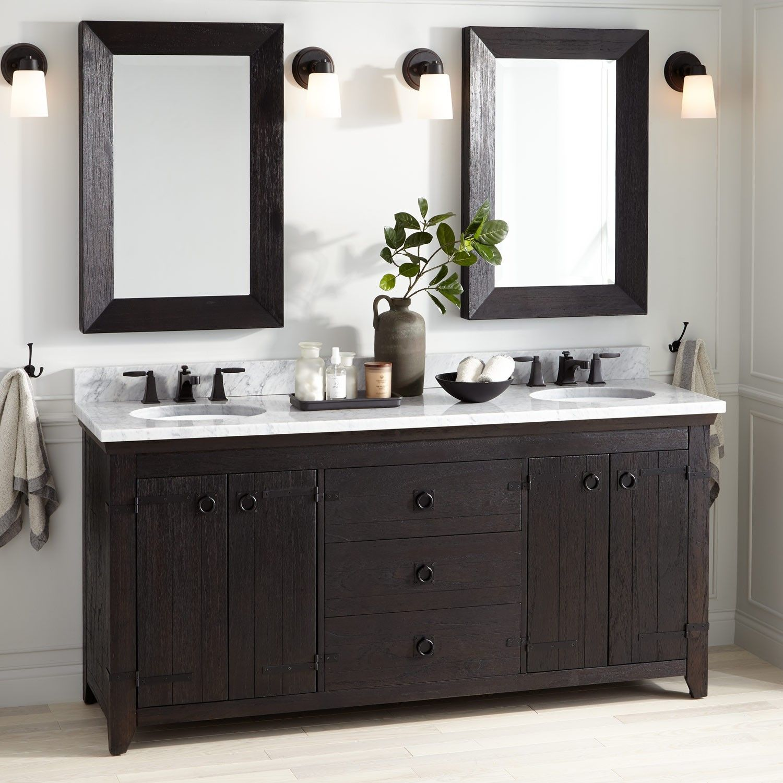 72 Kane Double Vanity For Undermount Sink Rustic Black