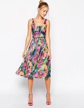 ASOS - Vestito longuette morbido con stampa floreale digitale