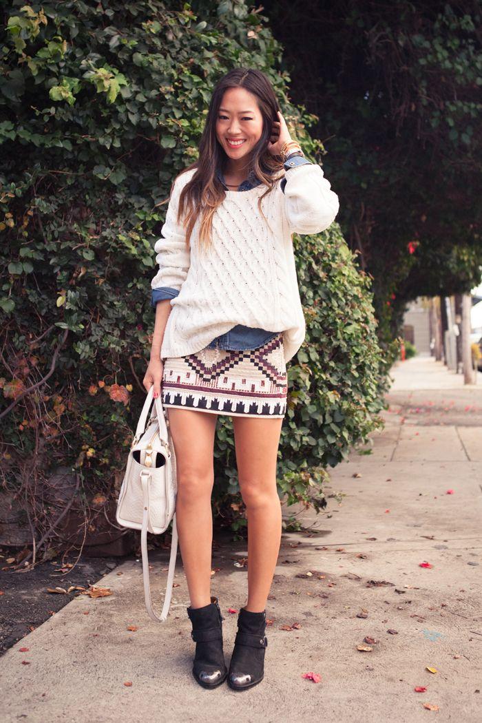 Cable Knit Sweater + Denim Shirt + Zara Beaded Mini Skirt