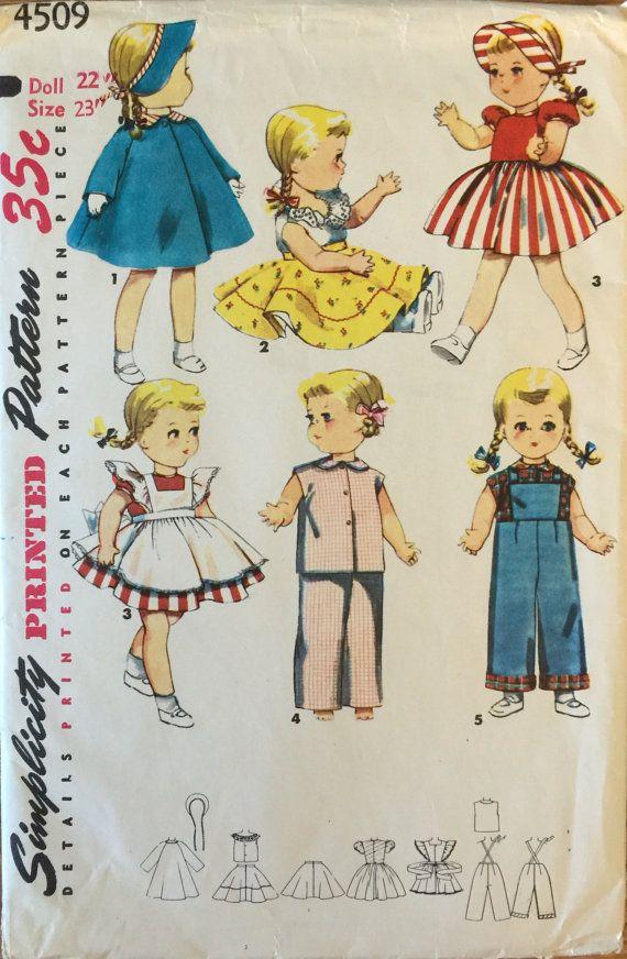 VTG 4509 Simplicity (1953) doll\'s wardrobe Bonny Braids & Saucy ...