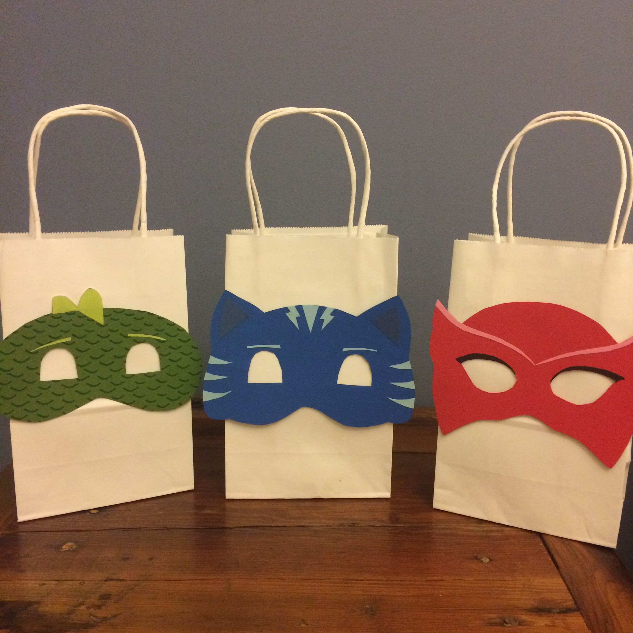 PJ Masks party favor bags.
