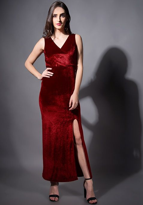 9699b3fd876 Maroon Velvet Wrap Maxi Dress  Fashion  FabAlley  PartyWear  WeddingWear   Marriage  Dress  Party  GoingOutAttire  GoingOutDresses  Maxi  MaxiDresses