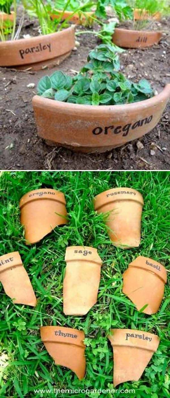 Use chards of broken pottery as markers. #garden_markers_pottery