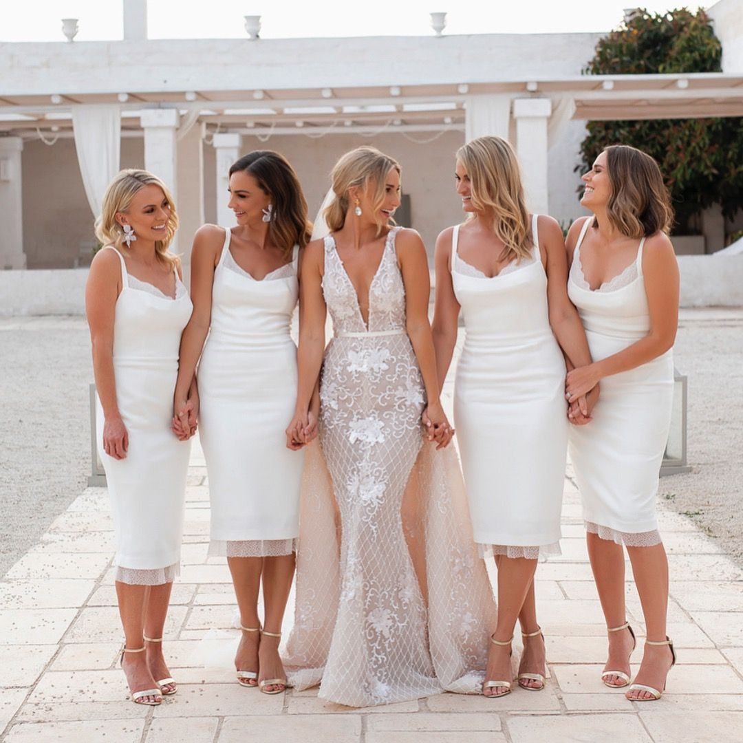 All White Bridal Party White Bridesmaids Dresses Chic Glam Wedding Inspiration Short Bridesmaid Dresses Luulla Dresses Bridesmaid Dresses [ 1080 x 1080 Pixel ]