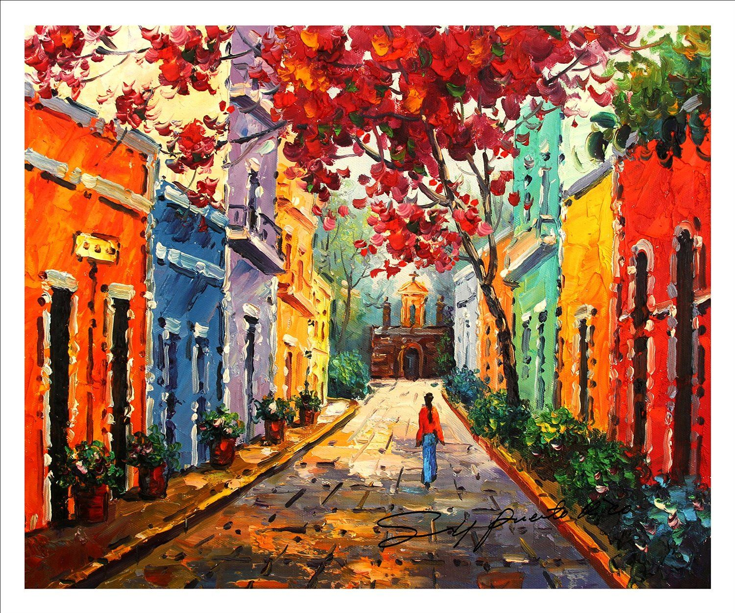Old San Juan Wall Decor : Quot x canvas print of oil painting puerto