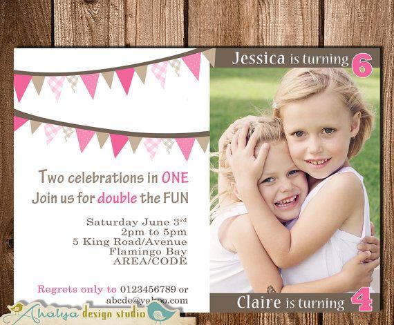 joint birthday invitation double birthday by ahalyadesignstudio, Birthday invitations