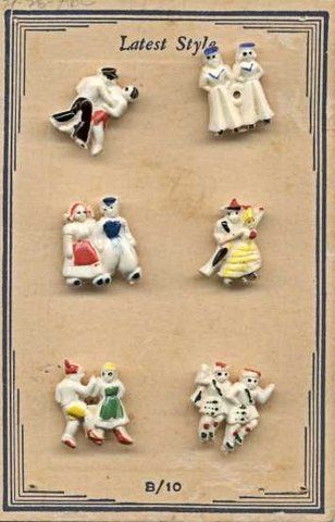"""ButtonArtMuseum.com - Card with 6 International Dancing Couples Buttons """"Latest Style"""" Nice Detail"""
