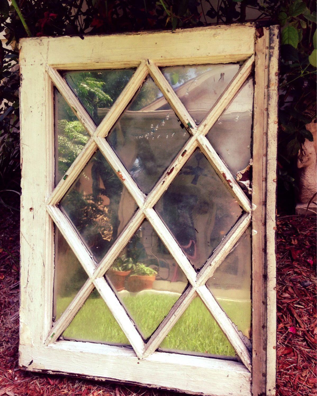 Antique Victorian Mirror Salvage Window With Criss Cross Mullions Diamond Panes