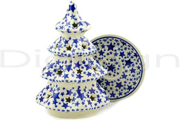 Boleslawiec Polish Pottery Large Christmas Tree Candle Holder Christmas Tree Candle Holder Polish Pottery Tree Candle Holders