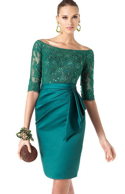 Vestido de fiesta corto color turquesa de Pronovias
