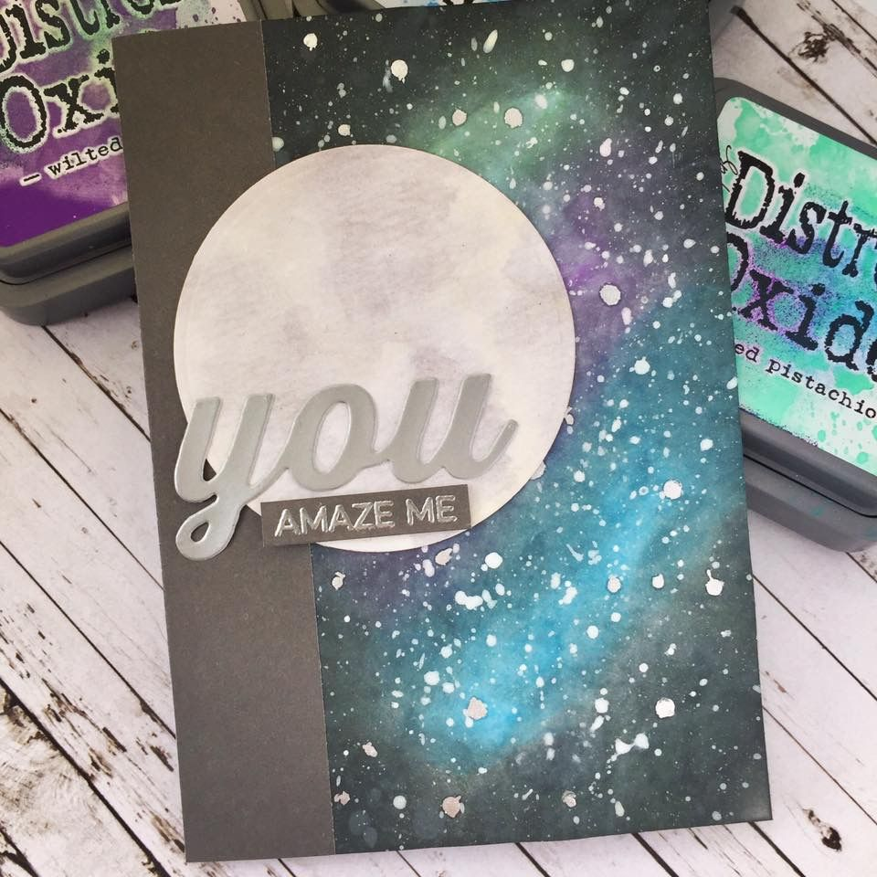 Card Galaxy Planets Moon Star Night Sky Moon Altenew Moon Stamp Set Sky Space Outer Space Stars Galaxy Galaxies Card Art Hero Arts Cards Handmade Cards Diy