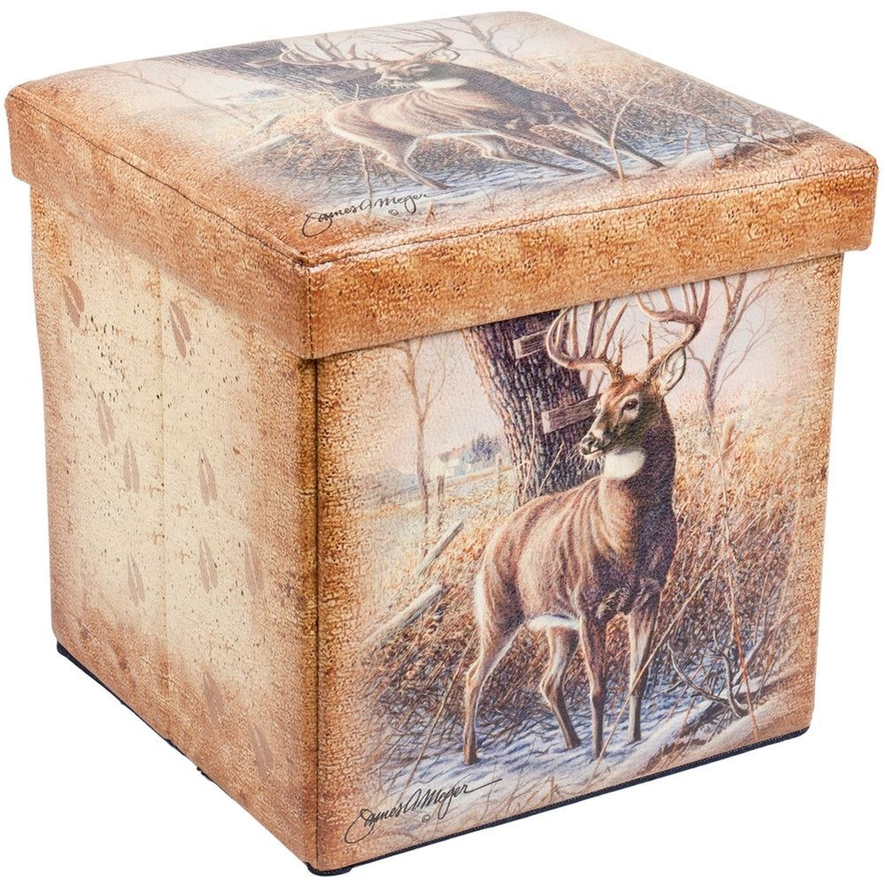Square handcrafted moroccan leather pouf dark tan pouf pouffe ottoman - Deer In Forest Small Storage Footstool
