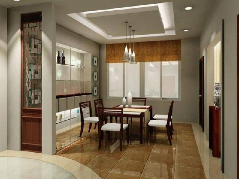 Amazing Dining Room , Dining Room Ceiling Designs : Dining Room Ceiling Designs  False Ceiling With Pendant