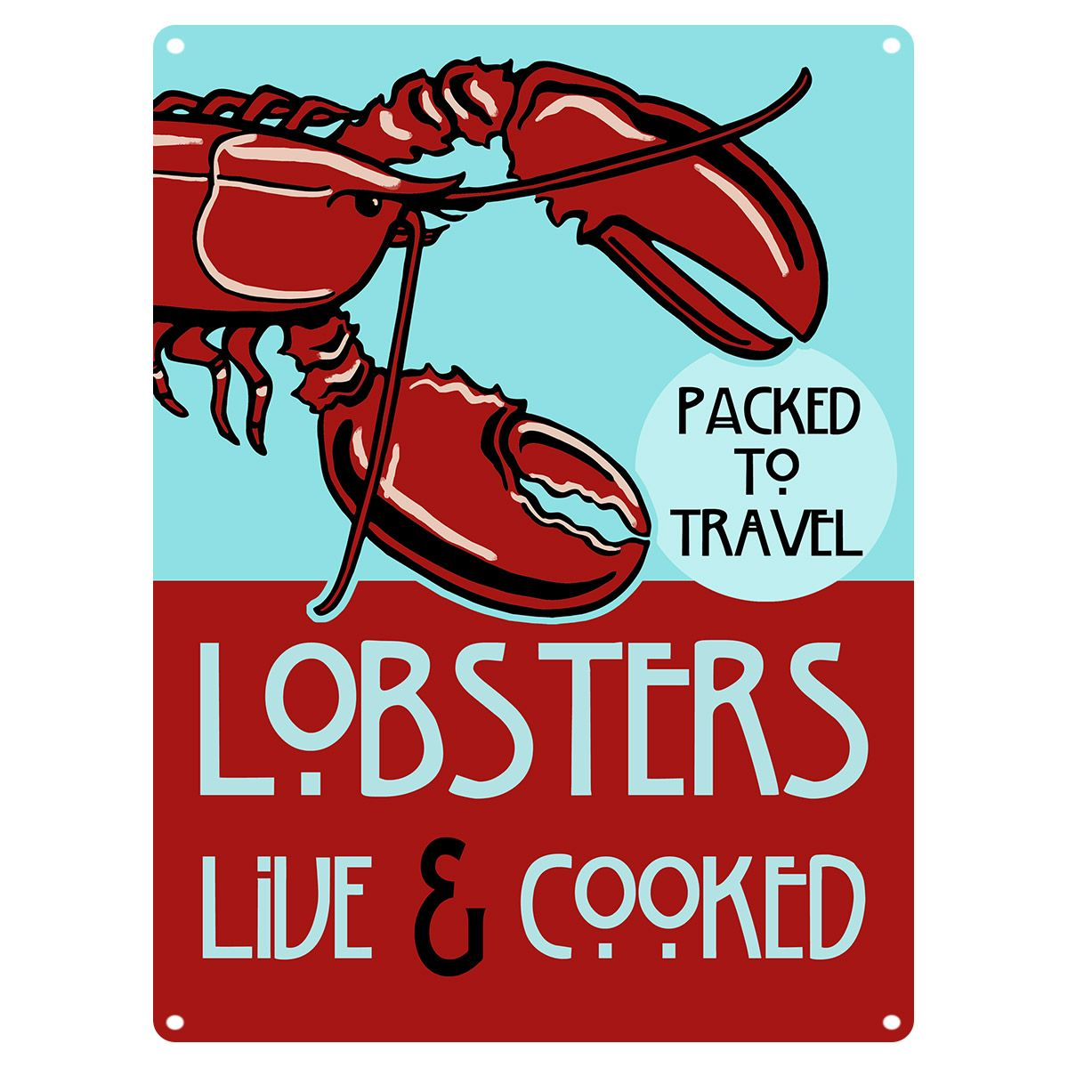 Lobsters Live and Cooked Seafood Metal Sign_D | Vintage diner ...