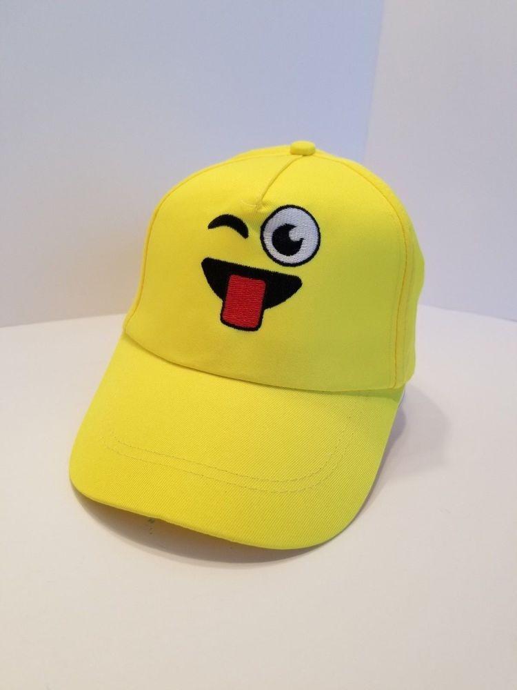 Emoji Cap Hat 3 D Embroidered Kids Size Laugh Wink Kiss Gorra De Nino Emoticon Fashion Clothing Shoes Accessories Kidsc Caps Hats Girls Accessories Hats