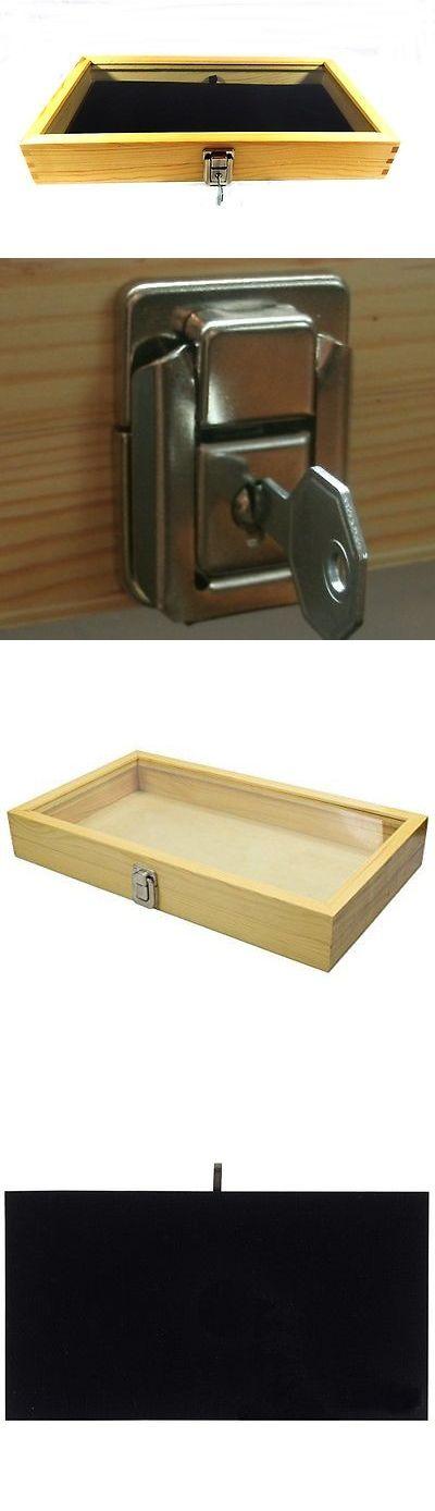 Cases And Displays 67697 Key Lock Natural Wood Glass Top Black Pad Display Case Militaria