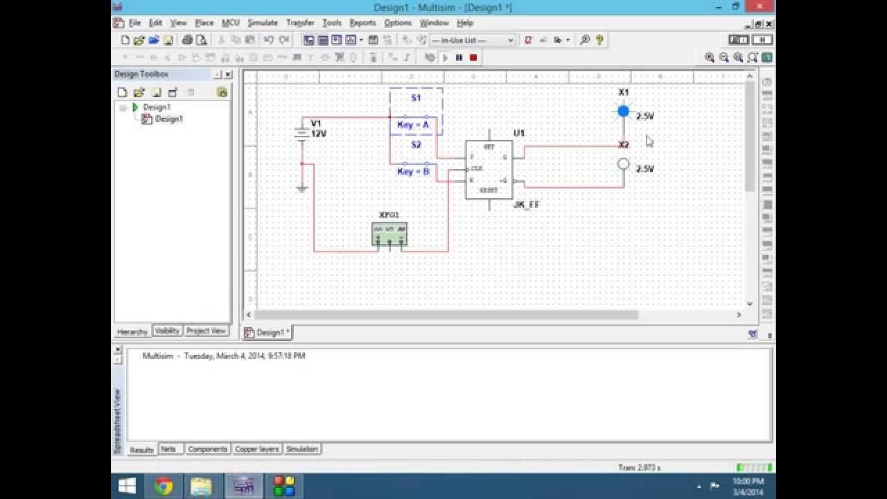 Jk Flip Flop Multisim Bistabil Pulse Electronic Pinterest Flipflop Circuit