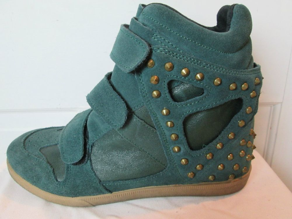 b4f77af918f4 Modern Vice Women s Suede Dark Green Wedge Sneaker with Gold Studs   ModernVice  PlatformsWedges  Casual