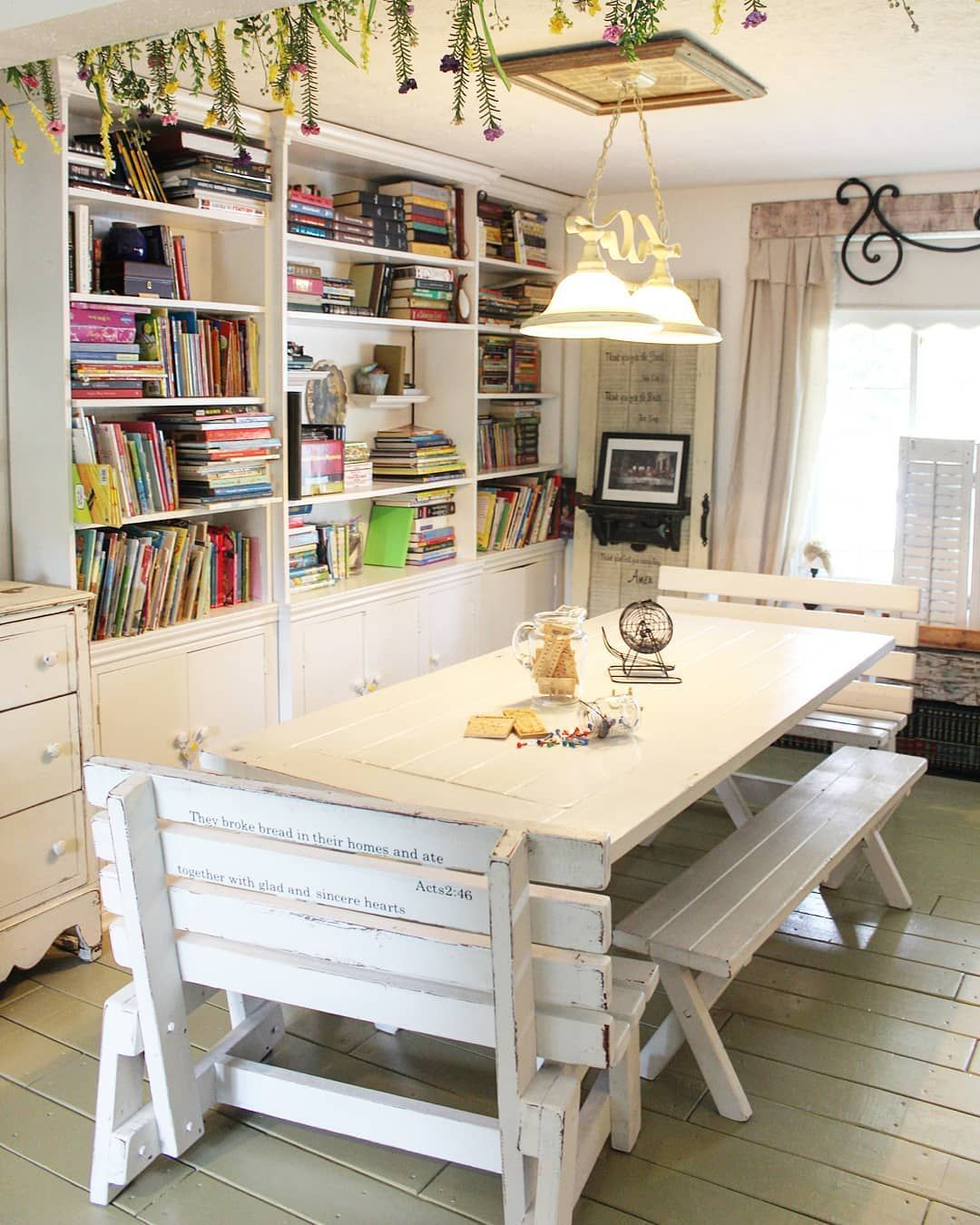 Dining Room Library Ideas: Outdoor Picnic Table Turned Farmhouse Dining Room Table