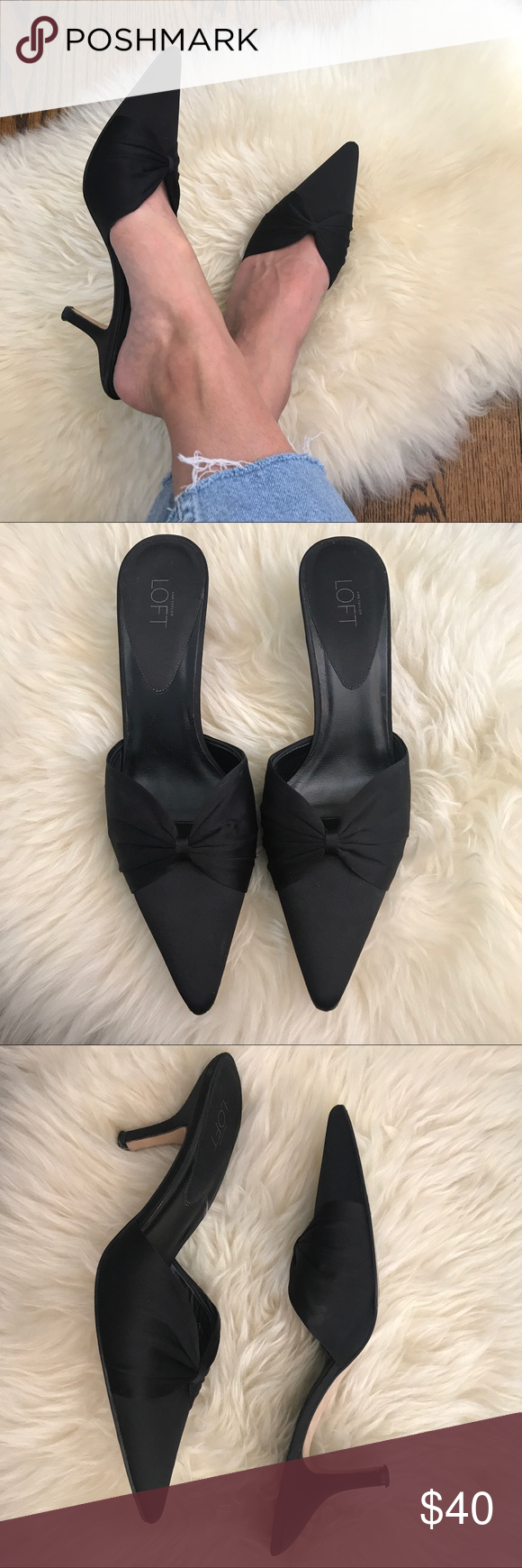 f7b84f9a7ddb Perfect Pointy Toe Kitten Heel Mules The perfect pair of black satin mules  featuring bow detailing and kitten heels. Looks amazing paired with cut off  ...