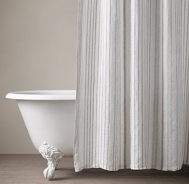 Italian Stripe Jacquard Linen Shower Curtain Primitive Bathrooms Curtains Striped Shower Curtains