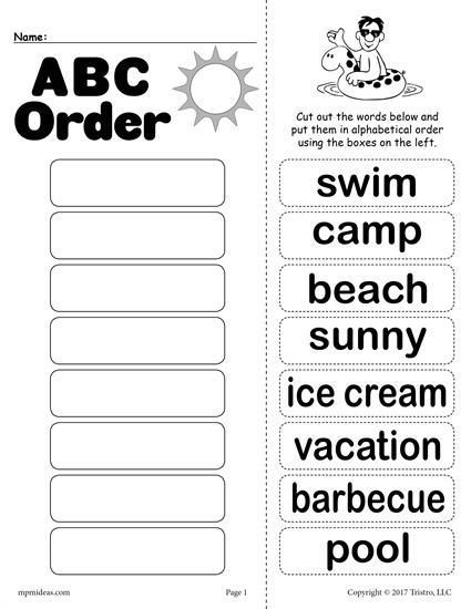 FREE Summer Alphabetical Order Worksheet | Worksheets, Activities ...