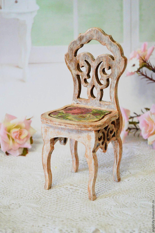 """Wooden chair for a doll house   Купить Стульчик для кукол """"Розовый букет"""" - комбинированный, стульчик, стульчик для куклы, стул, стул для куклы"""