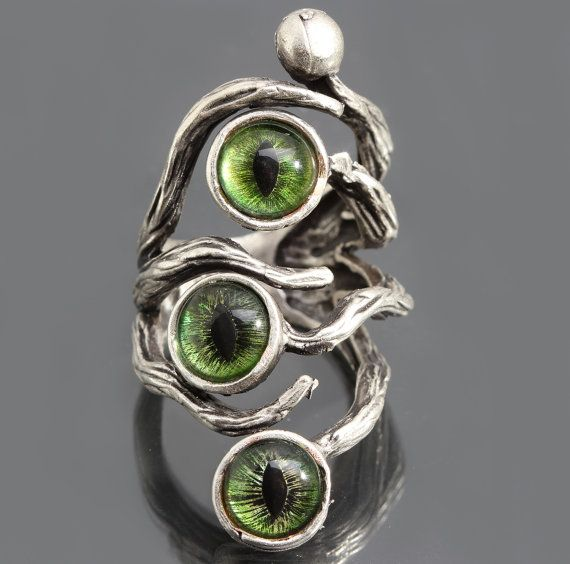 Evil Eye Ring Silver Branch Ring Dragon Eye Ring by DesignsBloom